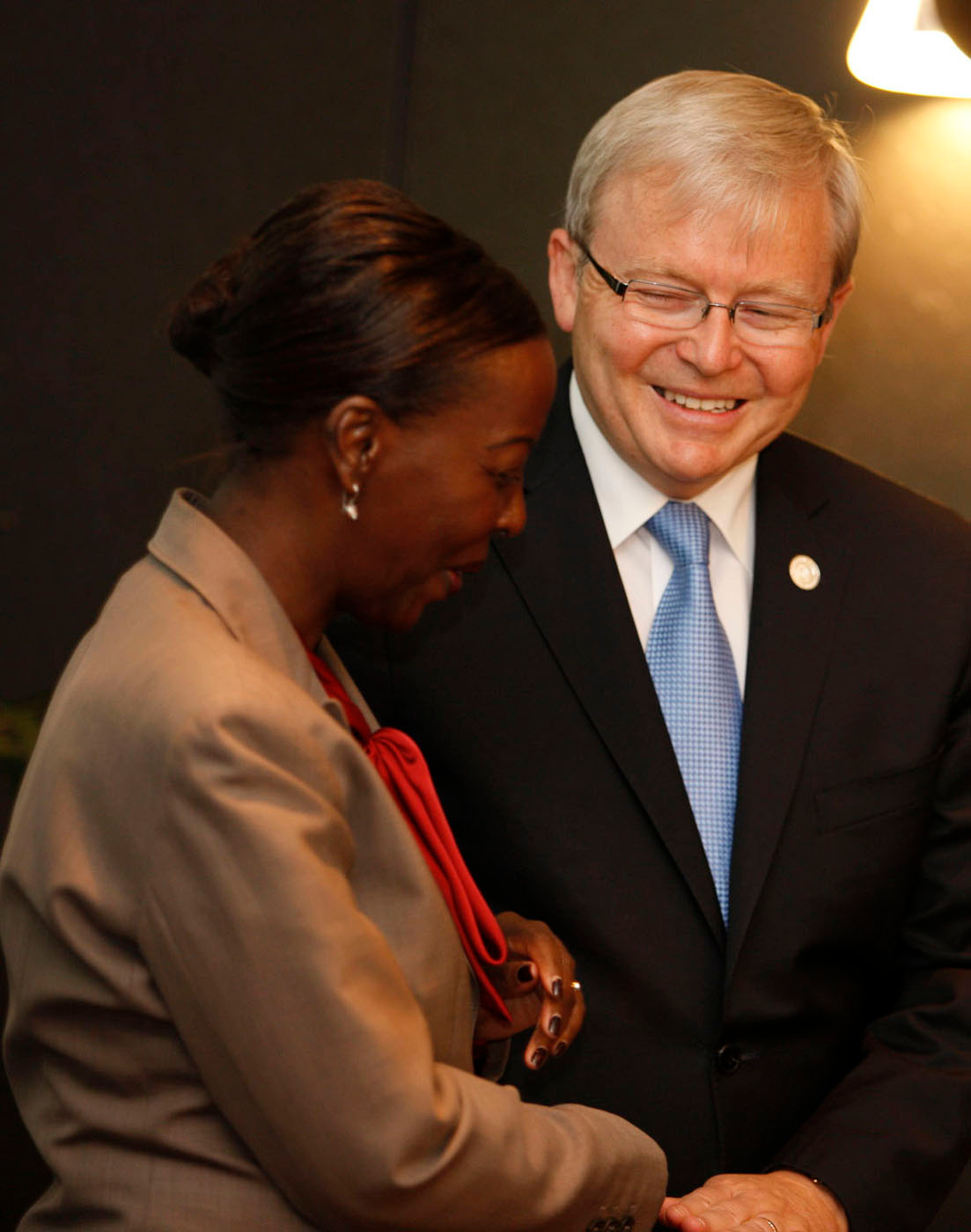 Minister Rudd with HE Ms Louise Mushikiwabo, Minister of Foreign Affairs and Cooperation of the Republic of Rwanda at the Commonwealth and Developing Small States Foreign Ministers Meeting in Perth today. CHOGM - October, 2011.