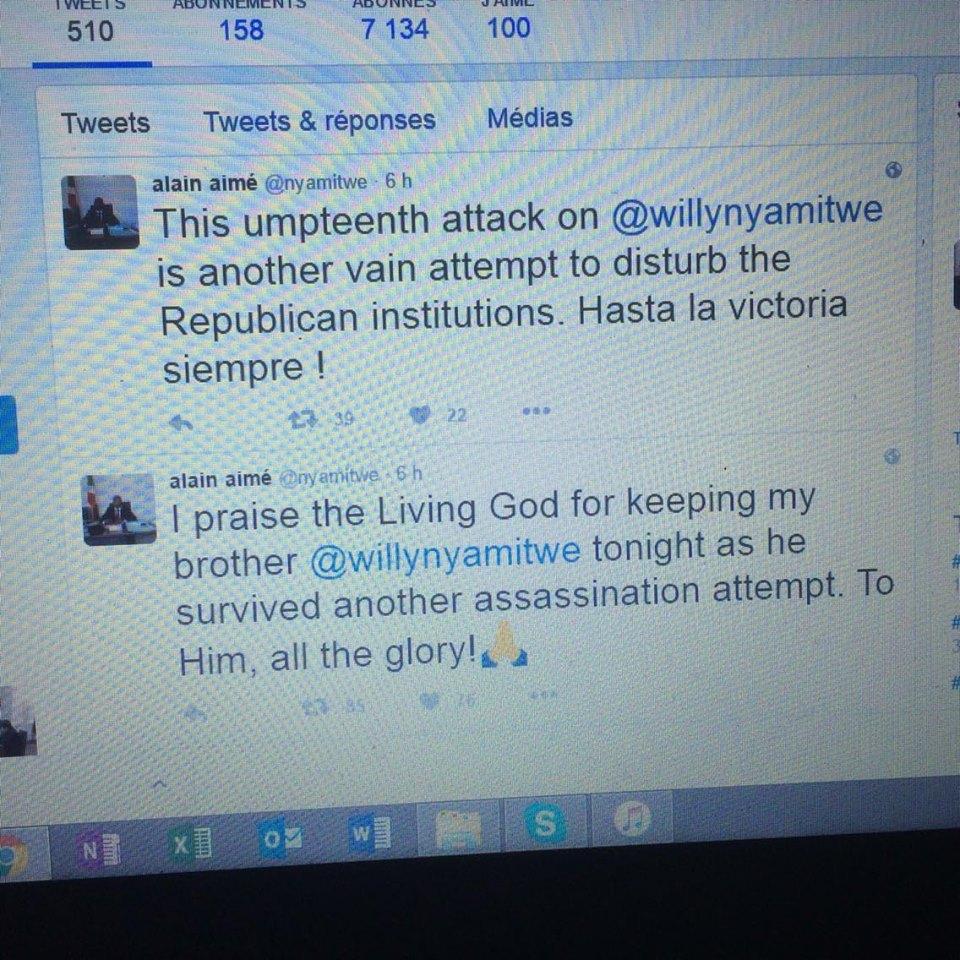 Alain Aimée Nyamitwe, Ministre w'ububanyi n'amahanga w'u Burundi akaba n'umuvandimwe wa Willy Nyamitwe ari mu ba mbere batangaje amakuru y'iki gitero akoresheje twitter